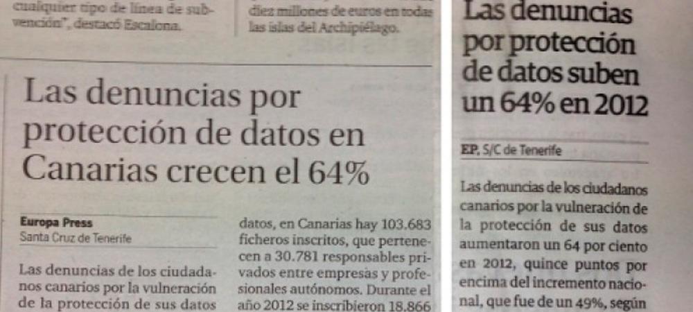 Denuncias por protección de datos aumentaron un 64% en Canarias durante 2012